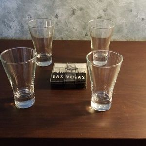 Set of 4 glasses and coasters